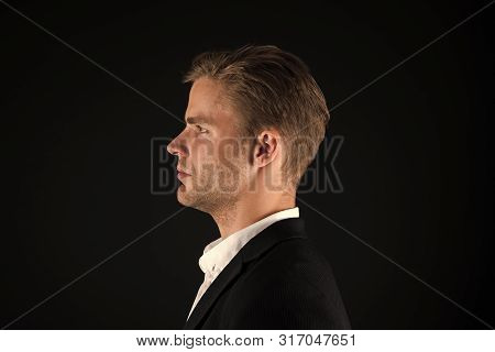 Business People Hairstyle. Businessman Hair Groomed Face. Stylish And Modern Appearance. Well Groome
