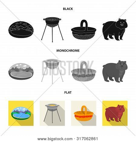 Vector Design Of Cookout And Wildlife Logo. Collection Of Cookout And Rest Stock Symbol For Web.