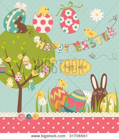 Easter Extravaganza. Big Easter set with cute chocolate rabbit, colourful eggs, chicks, Easter tree and a Clothesline with letters on it. Ideal for scrapbooking