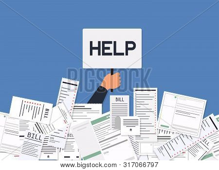 Businessman Needs Help Under A Lot Of Bills. Paying Bills. Payment Of Utility, Bank, Restaurant And