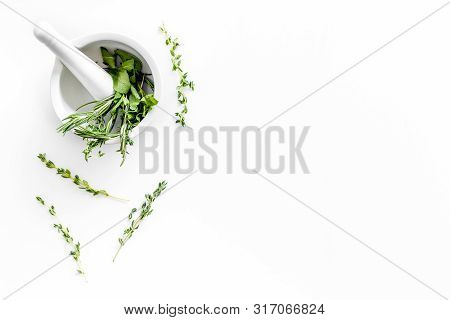 Alternative Medicine With Medicinal Herbs On White Background Top View Mock Up
