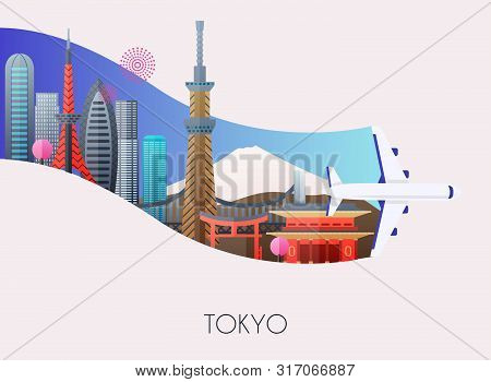 Travel To Tokyo. Traveling On Airplane, Planning A Summer Vacation, Tourism And Journey Objects And