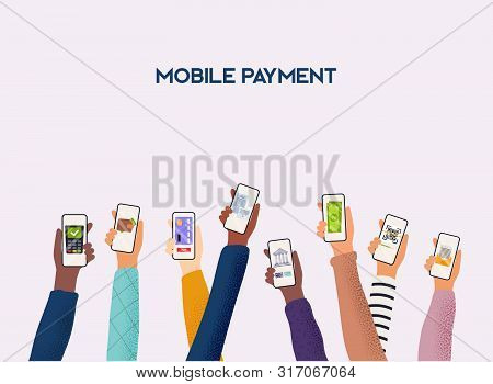 Hands Holding Phones With Differed Type Of Payment. Flat Design Vector Illustration Concepts Of Onli