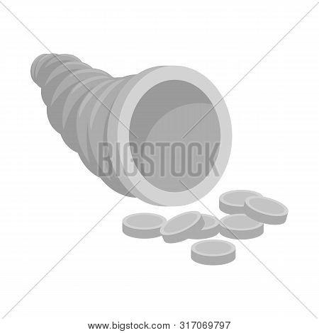 Vector Illustration Of Cornucopia And Money Symbol. Set Of Cornucopia And Gold Stock Symbol For Web.