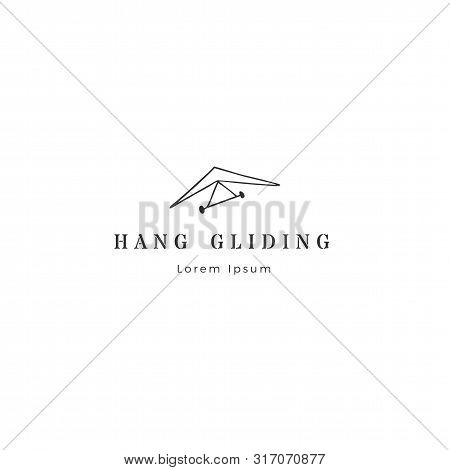 Hang Gliding, Sky Sports Logo Template. Hand Drawn Vector Isolated Icon.