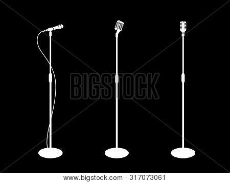 Microphone Silhouette On Stand. Three Microphones On Black Background. Icon Microphone, Mic. Flat De