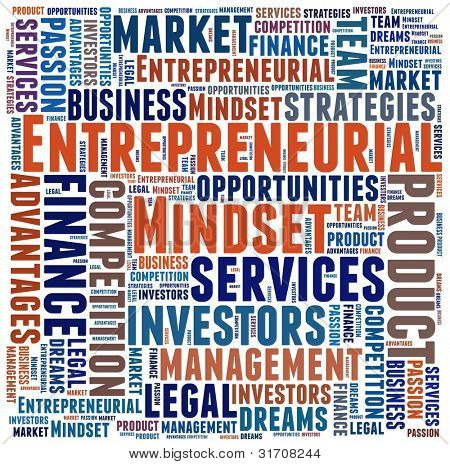 Entrepreneurial  Mindset in word collage