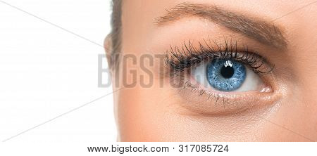 Close Up View Of An Eye Of A Woman.