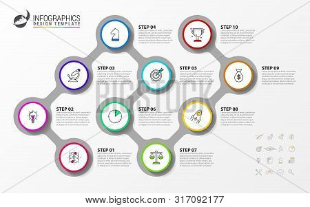 Infographic Design Template. Timeline Concept With 10 Steps. Can Be Used For Workflow Layout, Diagra