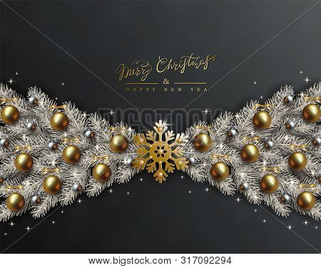 Black Christmas Design With Border Made Of Realistic Gold And Silver Balls, Snowflake And Silvery Br