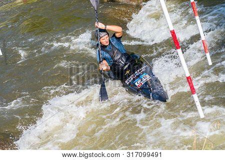 La Seu D Urgell, Catalonia,spain - Agust 14: Unidentified Sportsman Struggling With The Flow. In La