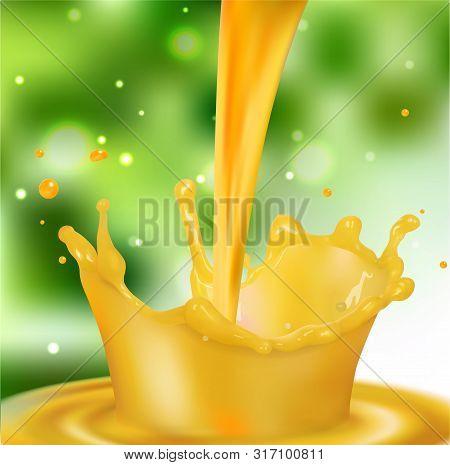 A Splash Of Orange Juice With Splashes. Vector Realistic Illustration On  Ackground.