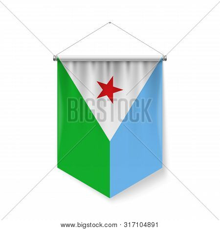 Vertical Pennant Flag Of Djibouti As Icon On White With Shadow Effects. Patriotic Sign In Official C