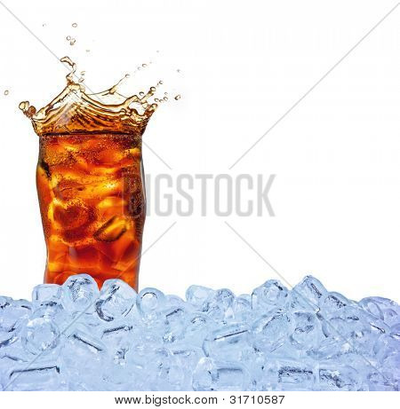 Cola drink with ice cubes, isolated on white background