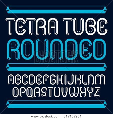 Vector Trendy Modern Capital, Uppercase Alphabet Letters, Abc Collection. Unlike Rounded Type Font,