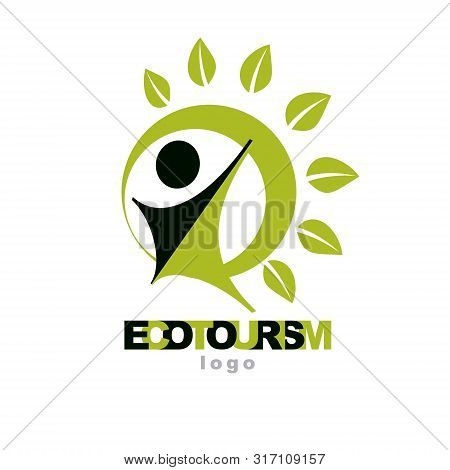Vector Illustration Of Happy Abstract Individual With Raised Hands Up. Ecotourism Conceptual Logo. G
