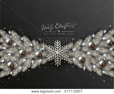 Black Christmas Design With Border Made Of Realistic Silver Balls, White Snowflakes And Silvery Bran