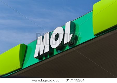 Budapest, Hungary - October 20, 2018: Mol Petrol Station Top With Inscription.