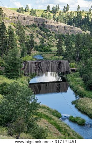 Manning-rye Covered Bridge In The Palouse Region Of Washington State, Spans The Palouse River In Col