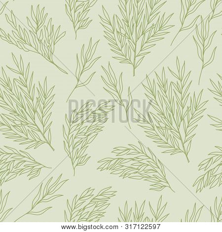 Willow Eucaliptus Hand Drawn Doodle Style Seamless Pattern