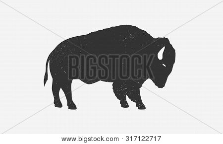 Bison Icon Silhouette With Grunge Texture. Buffalo Silhouette Isolated On White Background. Vector I