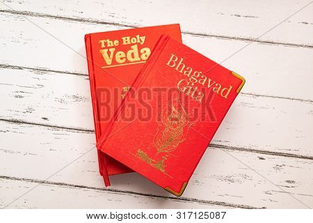 Maski, Karnataka, India, 14 August, 2019 : Holy Bhagavad Gita And The Holy Veda The Oldest Scripture