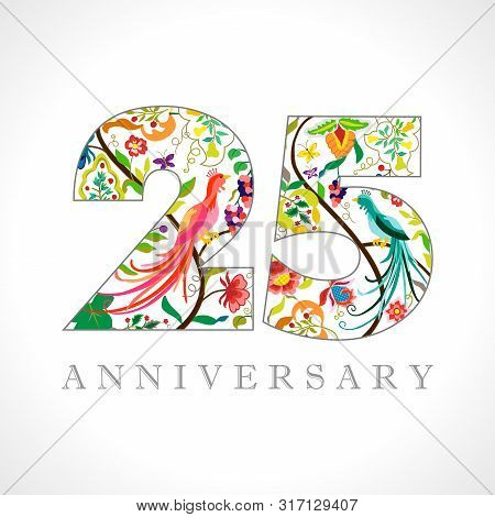 25 Years Old Logotype. 25 Th Anniversary Numbers. Decorative Symbol. Age Congrats With Peacock Birds