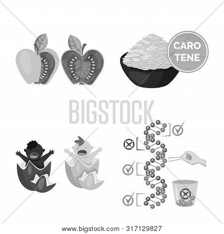 Vector Design Of Transgenic And Organic Sign. Collection Of Transgenic And Synthetic Vector Icon For