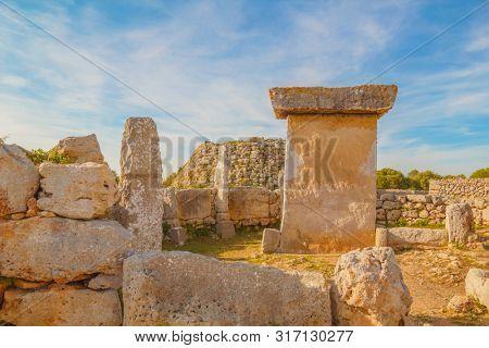 Talaiot y Taula de Trepuco Ruins at Menorca Island, Spain. Ancient Megalithic Village Structures.