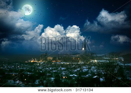 factory in the settlement of a moonlit night