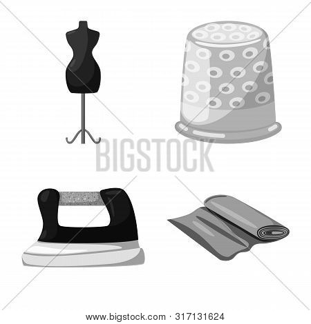 Vector Design Of Dressmaking And Textile Symbol. Collection Of Dressmaking And Handcraft Vector Icon