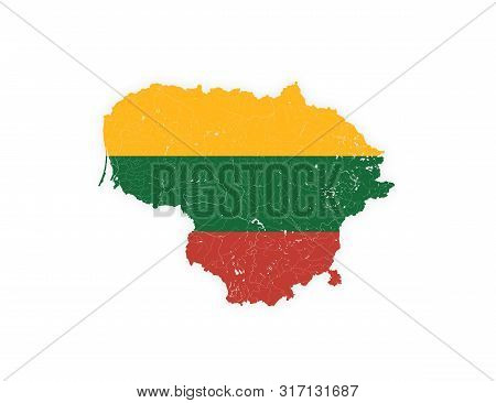 Map Of Lithuania With Rivers And Lakes In Colors Of Lithuanian National Flag. Please Look At My Othe