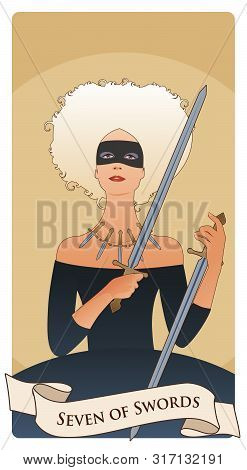 Seven Of Swords. Impish Courtesan. Wearing Mask And Necklace Composed Of Five Daggers, Grabbing Two