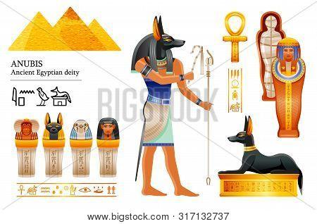 Ancient Egyptian God Anubis Icon Set. Canine Head Deity Of Death, Mummification, Afterlife. Mummy, C