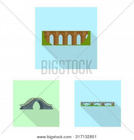 Isolated Object Of Bridgework And Bridge Logo. Collection Of Bridgework And Landmark Stock Symbol Fo