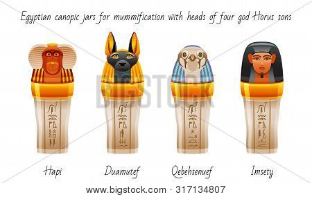 Ancient Egyptian Canopic Jars Used For Mummification To Preserve Viscera. Afterlife Symbol Icon Set.
