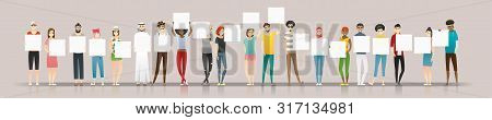 Group Of Young People Holding Empty Boards , Vector , Illustration