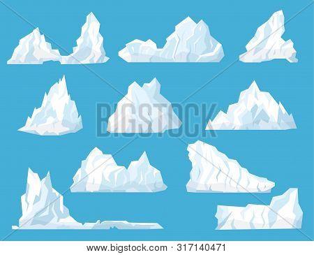 Cartoon White Floating Iceberg Icon Set Cold Arctic Mountain In Ocean Element Landscape. Vector Illu