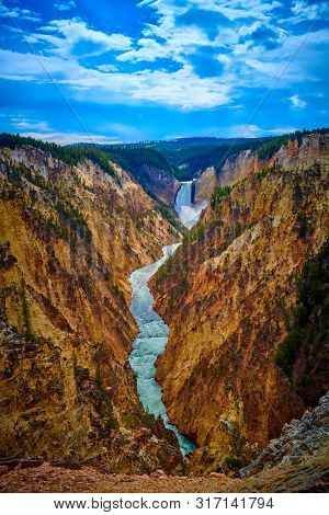 Veiw Of Lower Yellowstone Falls And The Grand Canyon Of The Yellowstone At Yellowstone National Park