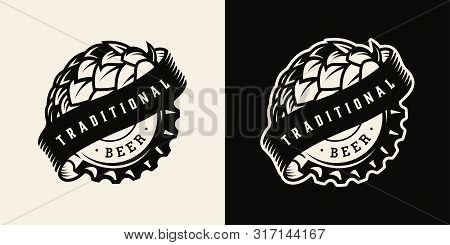 Vintage Brewing Monochrome Label With Ribbon Around Hop Cone And Beer Cap Isolated Vector Illustrati