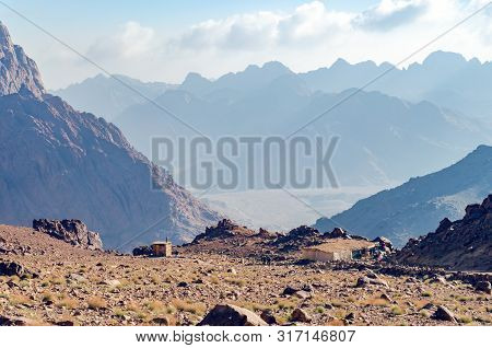 Beautiful mountain landscape, view from Mount Moses in Egypt on the Sinai Peninsula. poster