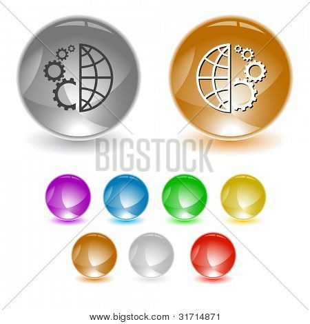 Globe and gear. Raster interface element. Vector version is in portfolio.
