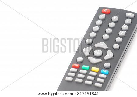 Remote Control For Digital Tv Tuners, Music Players, And Disk Drives On An Isolated White Background