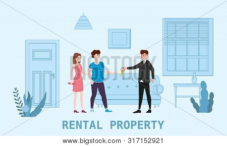 Real Estate Concept. Sale Or Rent New Home Service. Modern Family Characters To Buy New House Or Big
