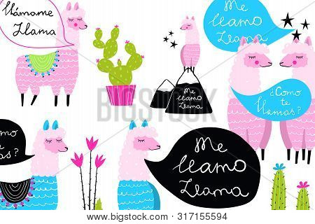 Fun Quirky Background Llamas And Cactus Design For Cute Prints.