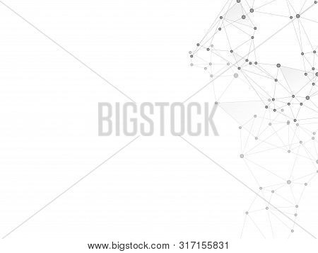 Block Chain Global Network Technology Concept. Network Nodes Greyscale Plexus Background. Bionic Ai