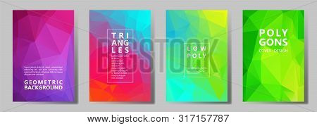 Facet Low Poly Cool Brochure Covers Vector Graphic Design Set. Diamond Texture Polygonal Patterns. G