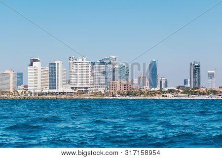 Tel Aviv Israel Waterfront Of Tel Aviv, Israel. View Of Modern City Tel Aviv From The Old City