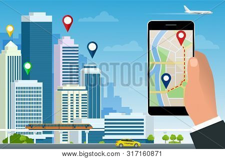 Flat Gps Navigation In The Phone With A Red And Blue Pointers. Gps Tracking Map. Track Navigation Pi