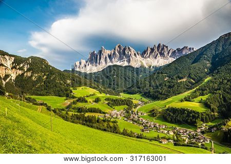 Santa Maddalena Village And Geisler (odle) Dolomites Mountain Peaks  - Val Di Funes, South Tyrol, It